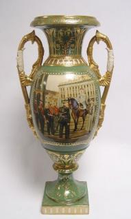 Casa Padrino Barock Porzellan Vase mit 2 Griffen H. 54 cm - Luxus Hotel Vase