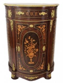 Casa Padrino Empire Kommoden Schrank mit Marmorplatte Mahagoni Dunkelbraun Intarsien - Barock Möbel Kommode