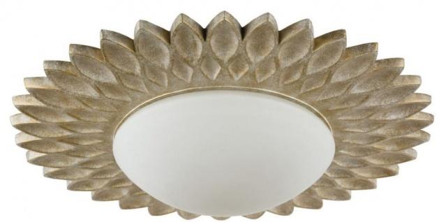Casa Padrino Designer Deckenleuchte Cremegold / Weiß Ø 56 x H. 10, 3 cm - Moderne Deckenlampe