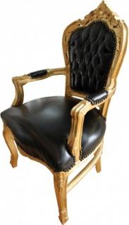 Casa Padrino Barock Esszimmerstuhl Schwarz / Gold Lederoptik mit Armlehnen - Esszimmer Stuhl Möbel - Vorschau 2