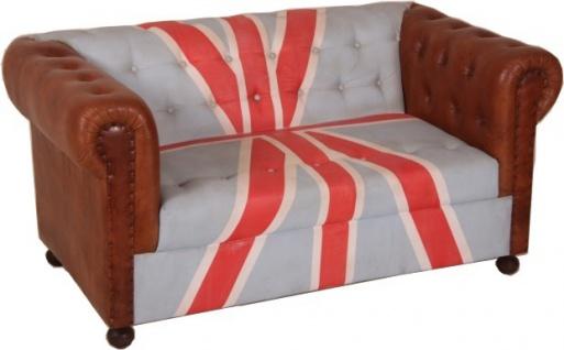 Chesterfield Luxus Echt Leder Sofa Union Jack / Braun 2 Sitzer Vintage Leder von Casa Padrino Englische Flagge England Möbel - Vorschau