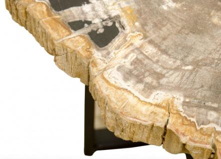 Casa Padrino Luxus Couchtisch mit einer versteinerten Holz Tischplatte in naturfarben / schwarz - Wohnzimmertisch - Vorschau 3