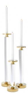 Casa Padrino Luxus Kerzenhalter / Kerzenständer 3er Set Gold - Luxus Kristallglas Accessoires