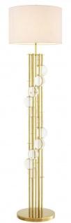 Casa Padrino Luxus Stehleuchte Gold / Weiß Ø 48 x H. 176 cm - Designer Lampe mit Kristallglas - Luxus Wohnzimmer Lampe