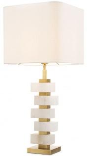 Casa Padrino Luxus Tischleuchte Antik Messing / Alabaster / Weiß 35 x 35 x H. 79, 5 cm - Moderne Metall Schreibtischleuchte mit dekorativem Alabaster - Luxus Qualität