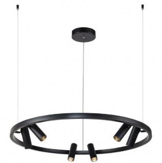 Casa Padrino Luxus Hängeleuchte Schwarz Ø 90 cm - Runde Pendelleuchte mit verstellbaren LED Spots