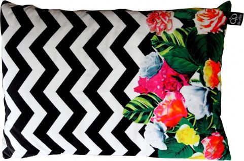 Casa Padrino Luxus Kissen Miami Flowers 35 x 55 cm - Feinster Samtstoff - Deko Wohnzimmer Kissen