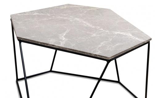 Casa Padrino Designer Couchtisch Grau / Schwarz 75 x 58 x H. 35 cm - Luxus Wohnzimmertisch mit Marmorplatte - Vorschau 2