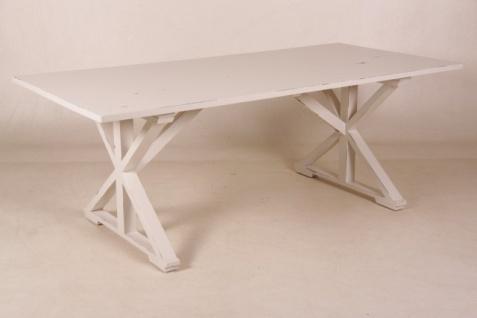 Casa Padrino Vintage Teak Esstisch Antik Stil Weiß 210 x 100 cm - Landhaus Stil Tisch Teakholz