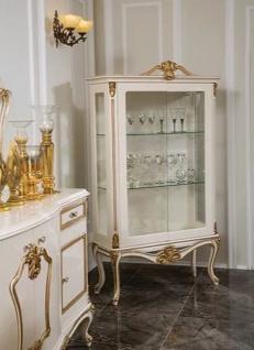 Casa Padrino Luxus Barock Vitrine Weiß / Gold 107 x 41 x H. 178 cm - Massivholz Vitrinenschrank - Barock Möbel - Edel & Prunkvoll