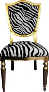 Casa Padrino Art Deco Luxus Esszimmer Stuhl Zebra / Gold - Luxus Hotel Möbel