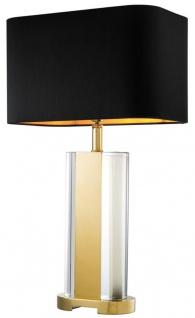 Casa Padrino Kristallglas Tischleuchte in gold mit schwarzem Lampenschirm - Designer Kollektion
