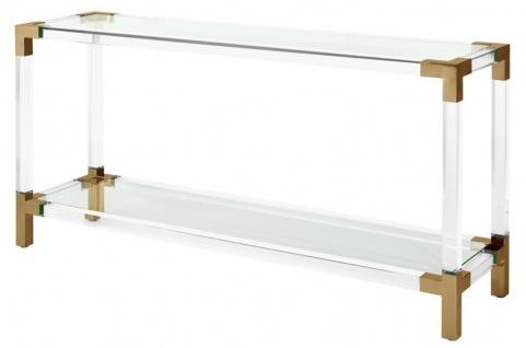 Casa Padrino Luxus Konsole Messingfarben 150 x 40 x H. 75 cm - Designermöbel