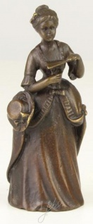 Casa Padrino Jugendstil Tischglocke Dame Bronze / Gold 4, 1 x 3, 9 x H. 10, 6 cm - Tischklingel Service Glocke - Hotel & Gastronomie Accessoires