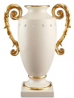 Casa Padrino Barock Vase Elfenbeinfarben / Gold 28 x 18 x H. 36 cm - Prunkvolle handgefertigte & handbemalte Keramik Blumenvase mit Swarovski Kristallglas