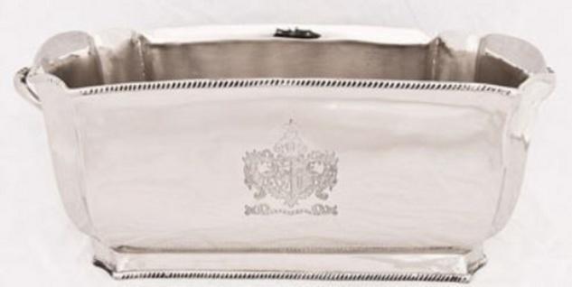 Casa Padrino Luxus Messing Weinkühler Silber 34 x 18, 5 x H. 14, 5 cm - Hotel & Restaurant Accessoires