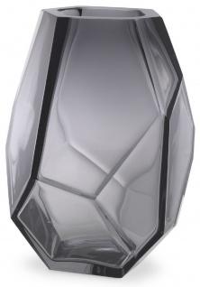 Casa Padrino Luxus Deko Glas Vase Grau 18 x 16 x H. 22 cm - Elegante mundgeblasene Blumenvase - Luxus Deko Accessoires