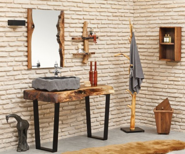 Casa Padrino Designer Badezimmer Set Naturfarben / Braun / Grau / Schwarz - Massivholz Badezimmer Möbel mit Vulkanstein Waschbecken - Luxus Qualität