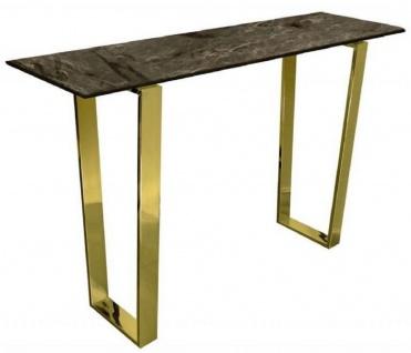 Casa Padrino Luxus Konsole Braun / Gold 122 x 36 x H. 76 cm - Moderner Konsolentisch mit synthetischer Marmorplatte und Stahlbeinen - Wohnzimmer Möbel