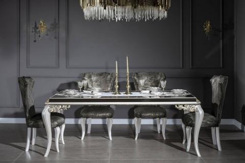 Casa Padrino Luxus Barock Esszimmer Set Grün / Gold / Weiß - 1 Esstisch mit Glasplatte & 6 Esszimmerstühle - Edle Esszimmer Möbel im Barockstil