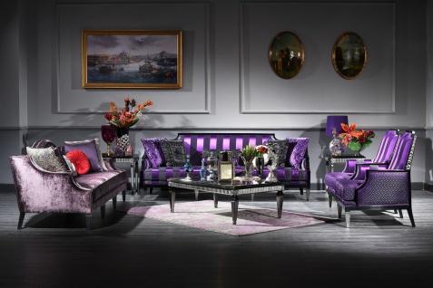 Casa Padrino Luxus Barock Wohnzimmer Set Lila / Schwarz / Silber - 2 Sofas & 2 Sessel & 1 Couchtisch & 2 Beistelltische - Barockmöbel