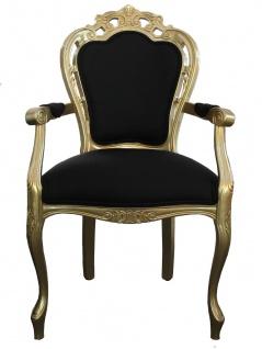 Casa Padrino Barock Esszimmer Stuhl mit Armlehne Schwarz / Gold - Designer Stuhl - Luxus Qualität