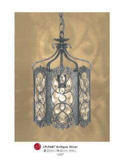 Orientalische Designer Pendelleuchte mit Kristall-Deco Antik Silber ModP3 Leuchte Lampe aus dem Hause Casa Padrino - Deckenleuchte Hängeleuchte