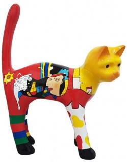 Casa Padrino Dekofigur Katze Mehrfarbig H. 110 cm - Wetterbeständige Deko Skulptur - Wohnzimmer Deko - Garten Deko - Deko Tierfigur