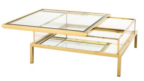 Casa Padrino Luxus Art Deco Designer Couchtisch Edelstahl vergoldet mit Spiegelglas - Luxus Kollektion