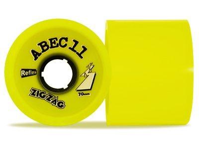 ABEC 11 Reflex ZigZags Lemon 83A 70mm Longboard Rollen Set (4 Rollen) - Longboard Wheels