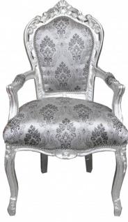 Casa Padrino Barock Esszimmer Stuhl Grau Muster / Silber mit Armlehnen - Möbel