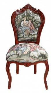 "Casa Padrino Barock Esszimmer Stuhl ohne Armlehne Gobelin "" Love Story ""/Braun - Antik Stil"