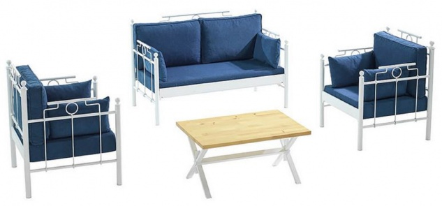 Casa Padrino Jugendstil Gartenmöbel Set Blau / Weiß - 1 Sofa & 2 Sessel & 1 Tisch - Jugendstil Garten & Terrassen Möbel