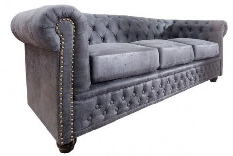 Chesterfield 3er Sofa Antikgrau aus dem Hause Casa Padrino - Wohnzimmer Möbel - Couch