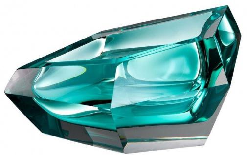 Casa Padrino Luxus Kristallglas Schüssel Türkis 22 x 14 x H. 10, 5 cm - Designer Deko Schüssel - Deko Accessoires