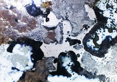 Casa Padrino Luxus Esstisch Naturfarben / Mehrfarbig / Silber 200 x 100 x H. 75 cm - Moderner Massivholz Tisch mit edlem Lavastein und Edelstahl Gestell - Esszimmmer Möbel - Luxus Qualität - Vorschau 3