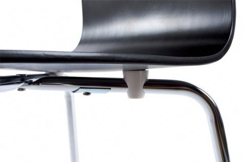 Designer Stuhl aus Holz und verchromtem Stahl Schwarz, Esszimmerstuhl, moderner Wohnzimmerstuhl - Vorschau 4