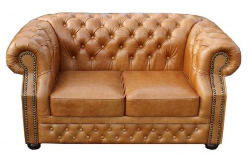 Casa Padrino Luxus Echtleder 2er Sofa Hellbraun 180 x 90 x H. 80 cm - Chesterfield Möbel - Vorschau