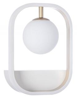 Casa Padrino Luxus Wandleuchte Weiß / Gold 17, 8 x 11 x H. 25 cm - Wohnzimmer Wandlampe
