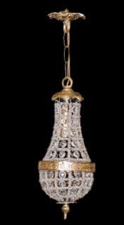 Casa Padrino Barock Hängeleuchte Glas Kristall / Gold - Höhe 30 cm, Durchmesser 10 cm - Decken Leuchte Antik Stil - Vorschau