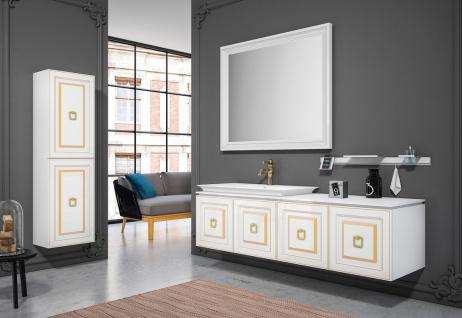 Casa Padrino Luxus Badezimmer Set Weiß / Gold - 1 Waschtisch mit Waschbecken & 1 Wandspiegel & 1 Wandschrank - Luxus Badezimmer Möbel