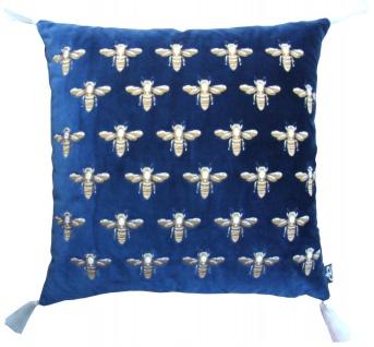 Casa Padrino Luxus Deko Kissen mit Troddeln Bees Blau / Gold / Weiß 45 x 45 cm - Feinster Samtstoff - Luxus Deko Accessoires