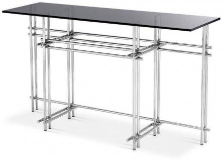Casa Padrino Designer Konsole Silber / Grau 131 x 36, 5 x H. 73 cm - Edelstahl Konsolentisch mit Glasplatte - Designer Möbel - Luxus Qualität