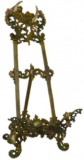 Casa Padrino Jugendstil Staffelei Antik Braun Rostoptik / Mehrfarbig H. 59 cm - Gusseisen Staffelei mit ausklappbarem Ständer