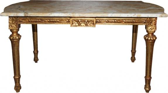 Casa Padrino Barock Antik Couchtisch Gold mit Marmorplatte 107 x 60 cm - Limited Edition - Antik Look