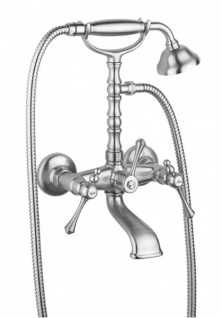 Luxus Bad Zubehör - Jugendstil Wannenbatterie mit Schlauch Handbrause und verstellbarem Wandhalter - Armatur Badewanne- Chrom - Serie Milano - Made in Italy