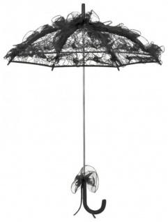 MySchirm Designer Brautschirm zarter Hochzeitsschirm aus schwarzem Tüll - romantischer Decoschirm