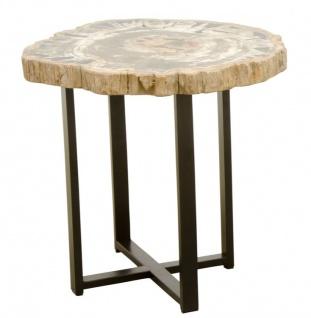 Casa Padrino Luxus Couchtisch mit einer versteinerten Holz Tischplatte in naturfarben / schwarz - Wohnzimmertisch - Vorschau 2