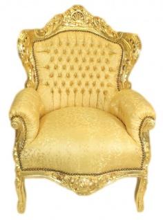 Casa Padrino Barock Wohnzimmer Set Gold Muster / Gold - 3er Sofa + 2 Sessel - Vorschau 3