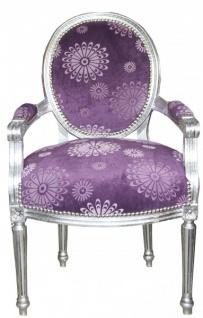 Casa Padrino Barock Salon Stuhl Lila Blumen Muster / Silber Mod2 Rund